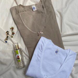 Camiseta manga corta escote produndo