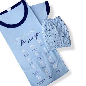 Pijama verano, pantalón corto y camiseta de manga corta