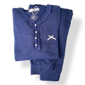 Pijama pantalón largo camiseta escote botones